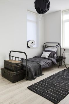 Create a Charming Vintage Kids Room -How to Create a Charming Vintage Kids Room - Boys Modern Farmhouse Bedroom Reveal-Teenager Style Little House of Four: {Friday Finds} 5 Stunning ORC Makeovers Minimal Interior Design Inspiration Industrial Bedroom Design, Industrial Furniture, Industrial Decorating, Urban Industrial, Industrial Boys Rooms, White Industrial, Retro Bedrooms, Trendy Bedroom, Single Bedroom