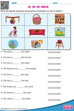 Free printable prepositions for kindergarten that allow your kids or students to form a sentence with suitable prepositions in given blanks. English Activities For Kids, English Grammar For Kids, Learning English For Kids, Teaching English Grammar, English Lessons For Kids, Learning Spanish, Worksheets For Class 1, English Worksheets For Kindergarten, English Worksheets For Kids