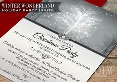 Winter Wonderland Party Invitation -Digital Printable - Elegant Grey and pearl-Business, Corporate or Holiday Parties