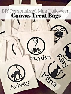 Learn how to make this DIY Personalized Halloween Canvas Treat Bags using the Cricut. Perfect for toddlers or even customized class treat bags. Halloween Canvas, Theme Halloween, Halloween Projects, Diy Halloween Costumes, Easy Halloween, Halloween 2017, Halloween Decorations, Personalized Halloween Bags, Trick Or Treat Bags