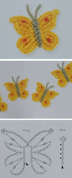 Crochet Butterfly Pattern - Design Peak, We have numerous butterfly tutorials on our website. Most of them are video tutorials. A lot of our readers asked for written instructions and here you have one. We found these instructions online and. Crochet Butterfly Free Pattern, Crochet Flower Tutorial, Crochet Flower Patterns, Crochet Diagram, Afghan Crochet Patterns, Crochet Motif, Crochet Flowers, Knitting Patterns, Crochet Gifts