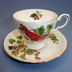 TUSCAN Audubon Birds Summer Tanager Tea Cup and Saucer, Red Bird Tea Cup, Tuscan Bone China England by Thinkilikeit on Etsy