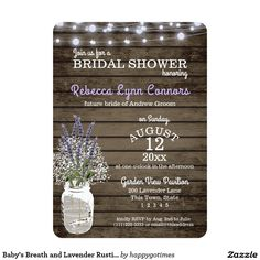 Baby's Breath and Lavender Rustic Bridal Shower Card Rustic country bridal shower invitation with a jar full of Baby's Breath and Lavender flowers. Twinkle string light with a lavender tint and aged barn wood add to the vintage charm of this lovely invitation.