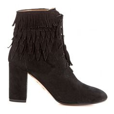 Aquazzura Woodstock Fringed Suede Ankle Boots ($795) ❤ liked on Polyvore featuring shoes, boots, ankle booties, black suede boots, black fringe boots, suede fringe boots, black bootie and black ankle boots
