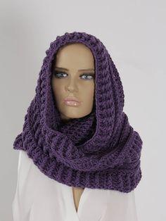 Ultra violet Crochet Infinity Scarf Handmade Scarf Neck