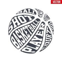 Ball sports symbols of basketball with typography. Vector Illustration isolated on white background.