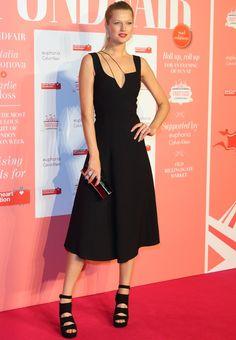 Toni Garrn in Black Suede Stuart Weitzman 'Slits' Sandals