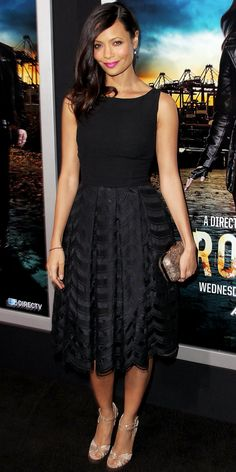Thandie Newton looked effortlessly chic at the Hollywood premiere of Rouge in a vintage black dress and lacy Jimmy Choo sandals. A hot pink lip amped up the look.