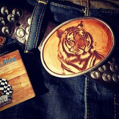 Tiger on Leather BeltBuckle by TuriShop Belt Buckles, Latte, Seat Belt Buckle, Belt Buckle, Latte Macchiato