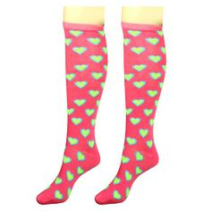 UNICO Knee High Sock in Cute Heart (Sell in Pairs) Compression Stockings, Sexy Socks, Plus Size Women, Pairs, Casual, Cute, Clothes, Shoes, Heart
