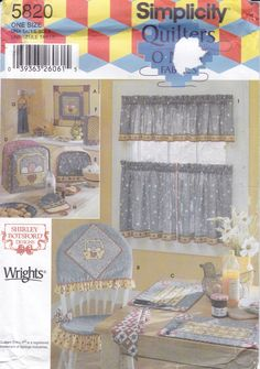 FREE US SHIP 5820 Sewing Pattern Quilters Country Window Treatment Chair pad Slip Cover Appliance Covers Towel Quilt Factory Folded by LanetzLiving on Etsy