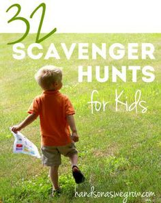 32 scavenger hunt ideas for kids. Great for outdoor birthday parties, barbecues and holidays.