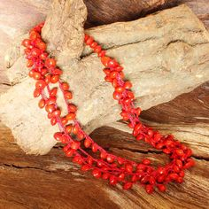 Multi Strand Necklace  Crochet Necklace  Red by ArtisansintheAndes