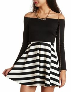 Off-the-Shoulder Striped Skater Dress: Charlotte Russe