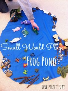 glass pebbles, branch blocks, froggies, can use fish I have with magnets, ferns, blue fabric