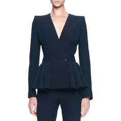 Alexander McQueen Asymmetric Pleated Peplum Jacket ($936) ❤ liked on Polyvore featuring outerwear, jackets, black, asymmetrical jacket, alexander mcqueen jacket, black asymmetrical jacket, peplum jacket and pleated jacket