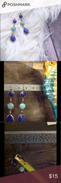 """Attractive Triple Stone Dangle Earrings Blue, Gold, Turquoise. Fish hook back. Size .05"""" W , 2.75"""" L Jewelry Earrings"""