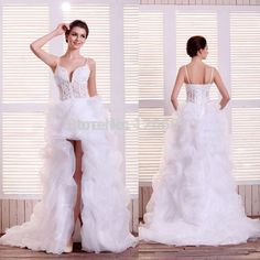Find More Wedding Dresses Information about New Arrival White Ivory Organza High Low wedding dress Sexy 2015 Sweetheart Lace backless wedding dresses Plus size,High Quality dress bloomers,China dress for dance competition Suppliers, Cheap dresses 14 year old from Sao Tome Garments Co., Ltd. on Aliexpress.com