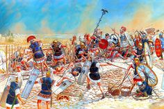The Battle of Thapsus on April 6, 46 BC which was a Decisive Caesarian victory. Roughly 10,000 enemy soldiers wanted to surrender to Caesar, but were instead slaughtered by his army. This action is unusual for Caesar, who was known as a merciful victor.