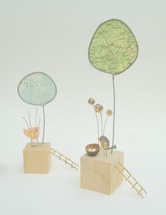 vintage map tree house sculpture by Josephine Gomersall designs