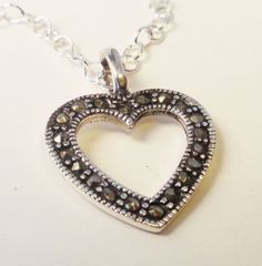 Marcasite and Sterling Silver Heart by MakeItPersonalJewels, $45.00   https://www.etsy.com/listing/118077709/marcasite-and-sterling-silver-heart