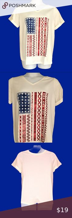 """Woman Within American T-shirt NWT beautiful top for summer V neck, short sleeves with cuff  Soft white color   Women's Size M size 14-16  60% Cotton 40% Polyester   Measures  23"""" across the chest  27"""" long Woman Within Tops Tees - Short Sleeve Woman Within, Size 14, Short Sleeves, Fashion Tips, Fashion Design, American, Tees, Cotton, Summer"""
