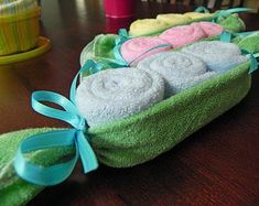 Baby Washcloth Pea Pod - Unique Baby Shower Gifts and Favors infant washcloth cute boy girl neutral by wendi Baby Shower Crafts, Unique Baby Shower Gifts, Baby Crafts, Baby Shower Parties, Baby Showers, Shower Party, Baby Washcloth, Shower Bebe, Girl Shower