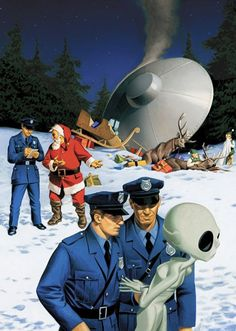 "danismm: ""latest ufo sightings: best wishes "" .when Santa gets t-boned by a drunk alien. Nobody believes the police report which, lets be honest, is their own fault at this point. Christmas Ad, Christmas Humor, Christmas Presents, Science Fiction, Illustrator, Sci Fi Tv, Sci Fy, Aliens And Ufos, Flying Saucer"