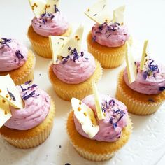 Lemon lime cupcakes topped with blackberry sloe gin cream and vanilla meringues - truly scrumptious!