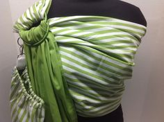 Green And White Stripes With Solid Green Pattern Baby Ring Sling by IndigosInMotion Ring Sling, Baby Sling, Green Pattern, Handmade Baby, Baby Patterns, Stripes, Couture, Trending Outfits, Model