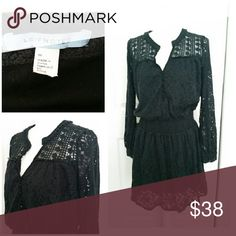 Leifnotes Anthropologie Black Lace Dress LEIFNOTES Anthropologie  Lace Semi Sheer Crochet Yoke Peasand  Dress Size M. Excellent pre-owned condition. No rips, holes or satins.  Approx measurement laying flat in inches  Armpit to armpit 19 Shoulder 15 Sleeve length 23.5 Waist 16 Length  36 Anthropologie Dresses