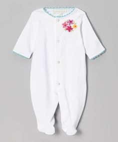 Take a look at this White & Turquoise Flower Footie - Infant by Victoria Kids on #zulily today!