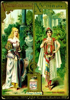 "Liebig Beef Extract ""Alphabet, Female Operatic Characters & Costumes"" German issue of 12 cards, 1892"