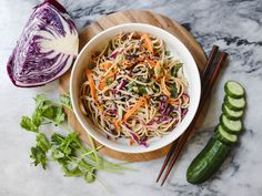 This cold Soba Noodle Salad with Easy Peanut Sauce is a filling Vegan entree that is perfect for an on-the-go lunch or light dinner.