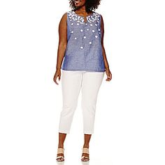 Liz Claiborne® Sleeveless Floral Split Tunic or Millennium Stretch Ankle Pants - JCPenney Ankle Pants, Liz Claiborne, White Jeans, Stretches, Tunic, Mom, Floral, Clothes, Fashion