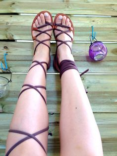 Gladiator Sandals  Chocolate Jersey by TheSquareMoon on Etsy, €35.00