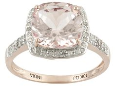 c121b57a2 2.47ct Cushion Cut Morganite With .28ctw Round White Diamonds 10k Rose Gold  Ring Morganite