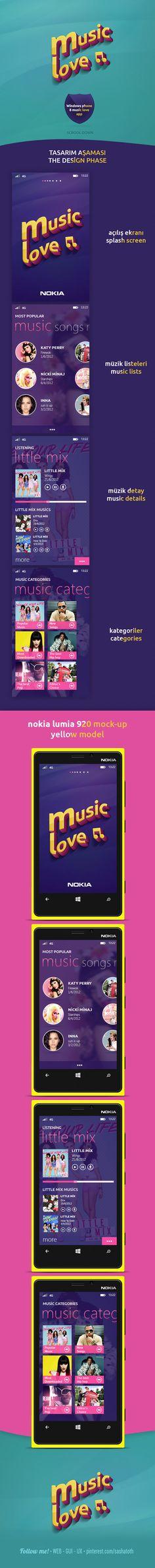 Windows phone 8 music love app by Fatih Ocak *** #app #gui #ux #wp8 #behance