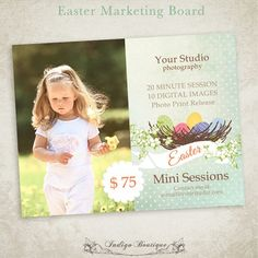 Easter Mini Session Photography Marketing Board Template, $8