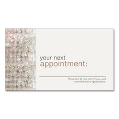 2211 best appointment business card templates images on pinterest beauty and fashion stylist sequin appointment card 1 double sided standard business cards pack flashek Gallery