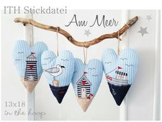 ITH embroidery File Heart * At the sea * **ITH Stickdatei Herzen Am Meer ab dem Rahmen** Free Motion Embroidery, Embroidery Files, Machine Embroidery, Embroidery Designs, Etsy Embroidery, Embroidery Hearts, Applique Patterns, Knitting Patterns, Crochet Patterns
