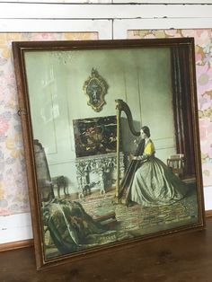 Vintage Leonard Campbell Taylor picture print 'Lady with a Harp'