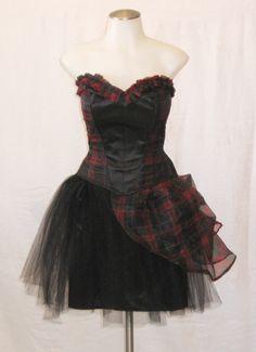 Plaid corset Couture Cocktail Plaid Prom Steampunk corset dress