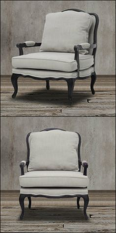 This stunning two piece French inspired oversized accent chairs features scalloped and scrolled wood trim, padded armrests, and distressed wood, complete with the finish rubbed off on the edges. It also boasts of a black oak frame flanks, removable foam cushions and neutral gray-beige linen upholstery to complete the warm charm.