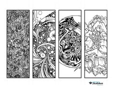 $2.50 Relaxing Cosmic Abstract Coloring Bookmarks.   This listing is a wildly cosmic coloring page featuring 4 unique abstract & fantastical colorable bookmarks. These bookmarks are hand-drawn, original artwork. This PDF has cut lines and is easily printable and cut-able. ★ 4