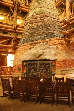 fireplace at Wilderness Lodge in Disney World! Most amazing lobby in disney! Disney Vacation Club, Walt Disney World Vacations, Disney Resort Hotels, Hotels And Resorts, Fireplace Design, Fireplace Ideas, Wilderness Resort, Light My Fire, Disney Springs