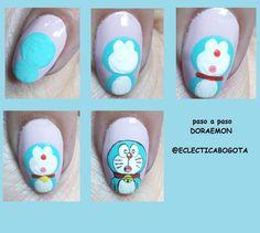 PASO A PASO  DORAEMON  El gato cosmico espero les sirva chicas! miauu!  #stepbystep #stepbystepnails #stepbystepnailart  #pasoapaso… Manicure At Home, Diy Manicure, Pedicure, Picasso Nails, Nail Art Blog, Disney Nails, Swag Nails, Essie, Nail Art Designs