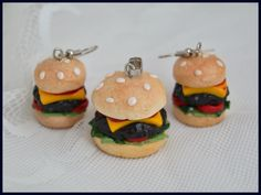 Hamburgers earrings and pendant from polymer clay