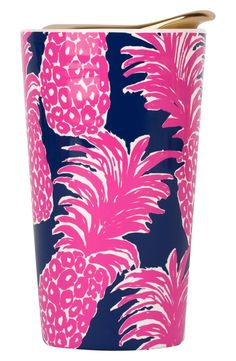 Lilly Pulitzer Ceramic Travel Mug, Flamenco, Pink: stay on the go and drink your tea or coffee in style with this chic ceramic travel mug. keep your coffee hot and your hands cold with this mug's ceramic double-wall construction.