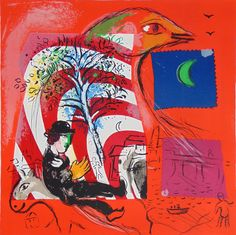 Available for sale from Denis Bloch Fine Art, Marc Chagall, L'Arc en Ciel Lithograph in colors on Arches wove paper, 36 × 28 in Marc Chagall, Matisse, Chagall Paintings, French Artists, Kandinsky, Pablo Picasso, Art Forms, Art Images, Scrappy Quilts
